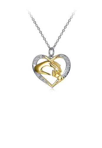 Glamorousky white 925 Sterling Silver Mom's Gift Elegant Fashion Mother and Child Holding Hands and Heart Shape Pendant  Necklace with Austrian Element Crystal 4C66CACD9951A6GS_1