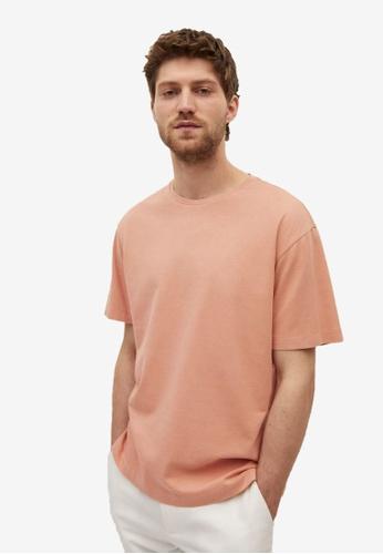 MANGO Man pink Cotton Linen Regular-Fit T-Shirt EBCC0AA86A27DEGS_1
