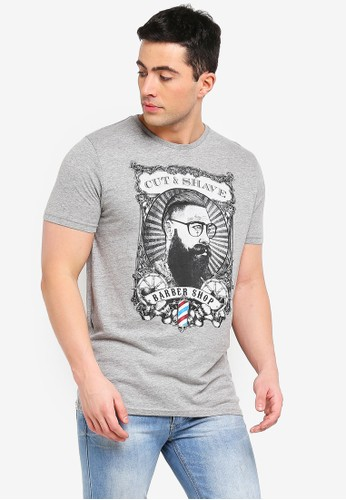 Brave Soul grey Comb T-Shirt with Print to Chest 0BF1BAA0120823GS_1