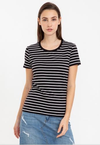 Bossini black Short Sleeve Striped Round Neck Tee 2C42AAAA51EA80GS_1