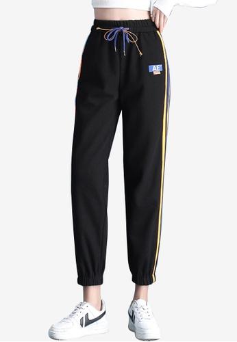 Zafiti black Women's Color Crush Striped Drawstring Waist Ankles-tied Pant - Black 6AA5FAA3567B5BGS_1