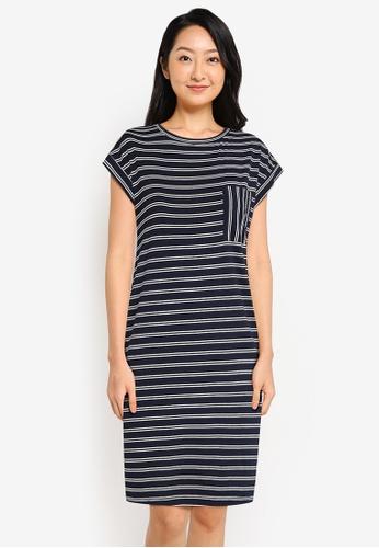ZALORA BASICS navy Lounge Pocket Stripe T-Shirt Dress 8A955AA9E30364GS_1