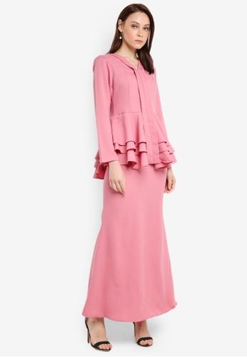 Aqeela Muslimah Wear pink Qhalisha Peplum Tiered Kebaya 107FFAABE1FB7EGS_1