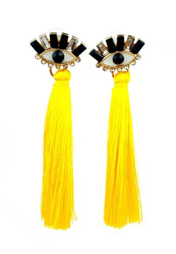 BELLE LIZ yellow Yellow Mysterious Eye Shape Earrings DC3DBACDF50E34GS_1
