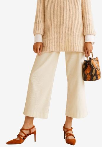 MANGO beige Flared Corduroy Trousers B4362AAA8C0916GS_1