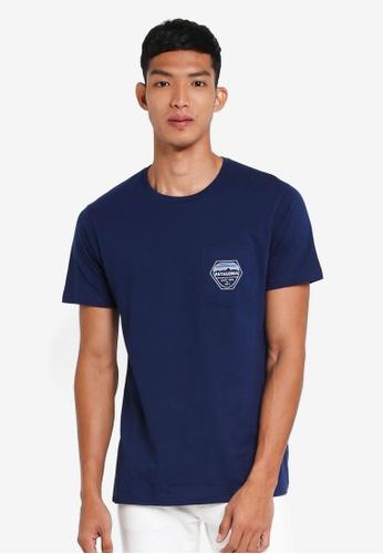 Patagonia navy Fitz Roy Hex Organic Pocket T-Shirt PA549AA0SVMVMY_1