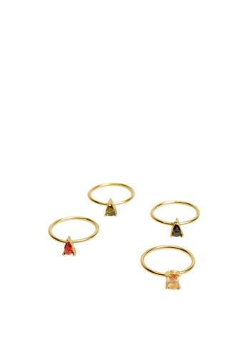 Mango gold Crystal Ring Set 2BBE0AC6968B3CGS_1