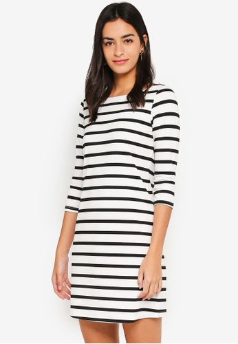 ZALORA BASICS multi Basic Crew Neck 3/4 Sleeves Knit Dress 18991AAEFE086AGS_1