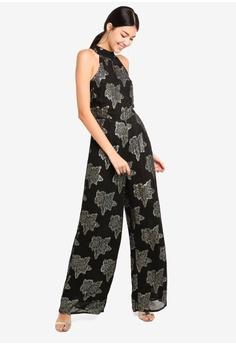 84c3f22c847e Miss Selfridge black Black Lurex Floral Jumpsuit 1158FAAD85B9FEGS 1
