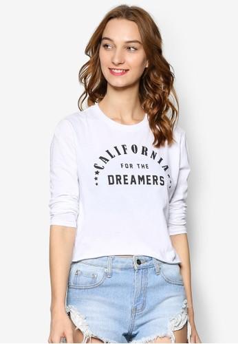 90S 圖文設計短版長袖衫, 服飾esprit hk store, 上衣