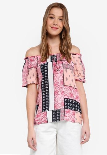 b6952fe7112849 Buy Dorothy Perkins Apricot Tile Print Gypsy Top Online on ZALORA Singapore