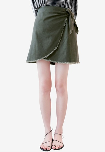 Tokichoi green Wrap Skirt with Ribbon Tie 6A43BAAA004C49GS_1