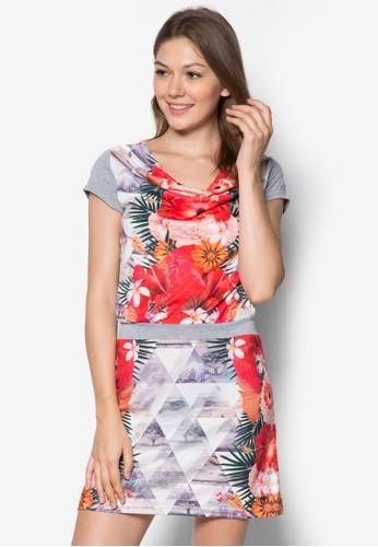 esprit 品牌Blomma 垂墜印花腰飾連身裙, 服飾, 夏日洋裝