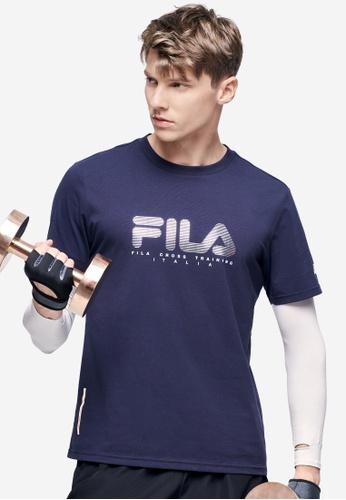 FILA navy Athletics Collection Stripe FILA Logo T-shirts 3EC0CAA18AFA9DGS_1