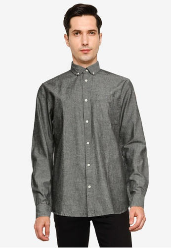 Only & Sons grey Emilio Long Sleeve Chambray Shirt CCC12AAA277B67GS_1