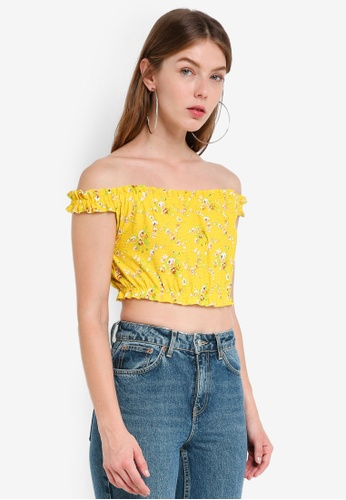 TOPSHOP yellow Strappy Gypsy Crop Top 2B536AA7A9EAC2GS_1