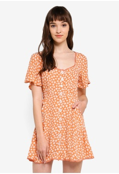 856bf95631 Miss Selfridge orange Petite Apricot Floral Print Button Skater Dress  FF78AAA321BE4DGS 1