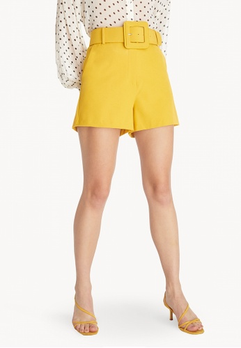 high waisted shorts yellow