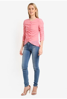 bbdf48406ef 35% OFF Miss Selfridge Pink Ruched Sheer Blouse RM 199.00 NOW RM 128.90  Available in several sizes