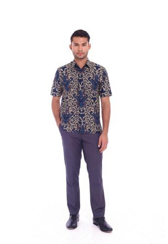 TUSCA blue Eusoff Classic Batik Shirt DE459AA3C1592EGS_1