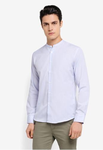 ZALORA white and blue Slim Fit Mandarin Collar Stripe Long Sleeve Shirt 1FF84AA4422968GS_1