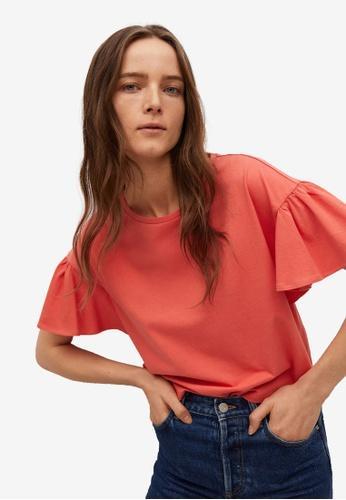 Mango red Frills Cotton T-Shirt E88C6AAB71D5C1GS_1