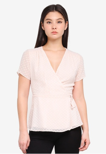 ICHI beige Sweetie Short Sleeves Top A8E00AA65F6225GS_1
