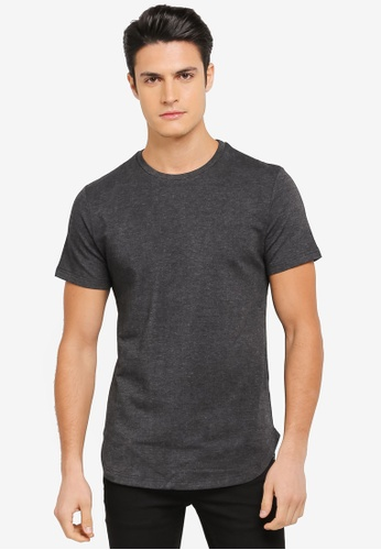 ZALORA black Textured Jersey Curve Hem Tee 2A651AAB41F1E5GS_1