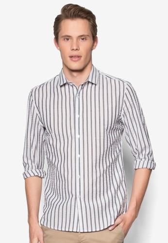 條紋修身長袖esprit mongkok襯衫, 服飾, 襯衫