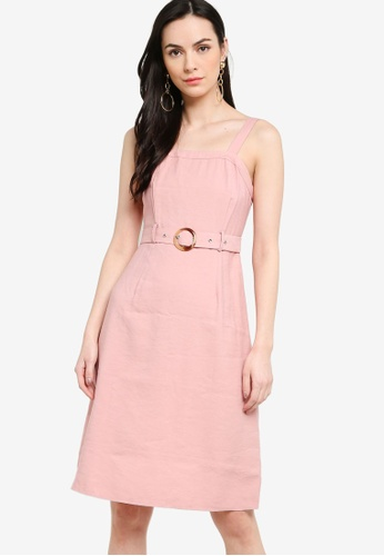 ZALORA pink Midi Fit and Flare Dress With Belt 1E7E1AA46D8248GS_1