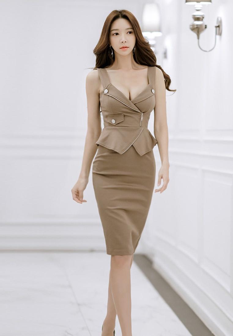 Dress Sunnydaysweety CA041803 One 2018 Piece S Brown S Brown New Sleeveless 10zfq