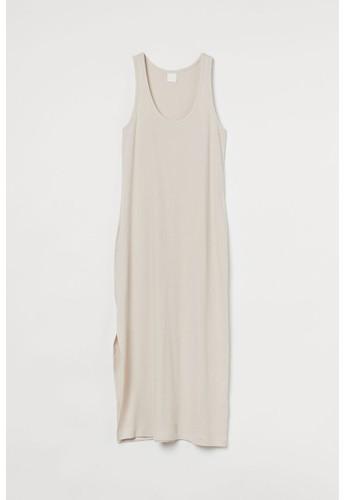 H&M beige Ribbed maxi dress 31D22AAA3C85C9GS_1
