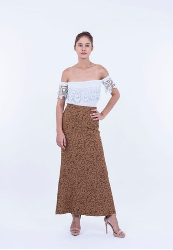 Ladies Jeans brown Pteris Flower Printed Skirt FE609AAF2B4B74GS_1