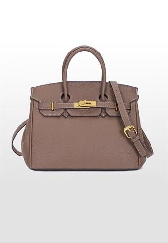 Lara brown Business Women's Plain Wear-resistant Giant Pebble Leather Cross-body Bag Handbag - Khaki (Regular Size) A11A9AC45B3044GS_1