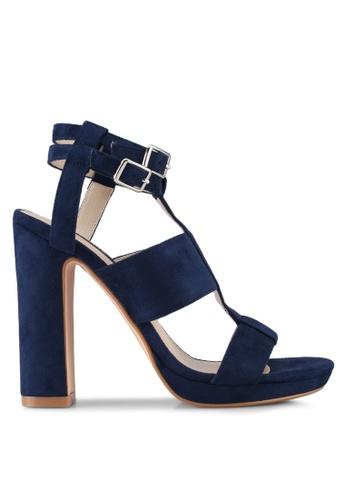 ZALORA 海軍藍色 Strappy Block Heels 53AA1SHBC0CE90GS_1