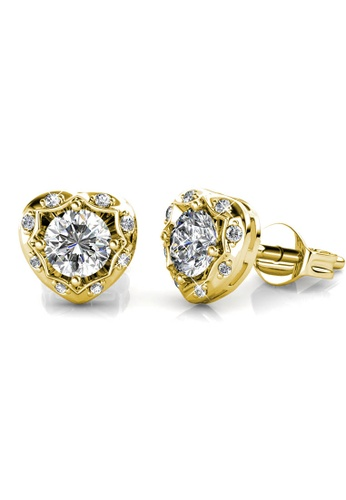 Her Jewellery Love Hook Earrings (Yellow Gold) - Made with premium grade crystals from Austria 4882BACE51BDFDGS_1