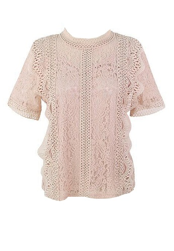 Twenty Eight Shoes pink VANSA Lace Short Sleeves Blouse  VCW-Bs1033 FCB21AABB29173GS_1