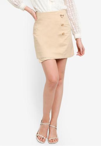 Hopeshow brown and beige Front Overlap Mini Skirt 0BCEBAA13D88EFGS_1