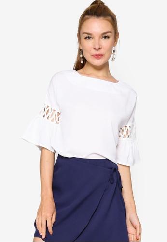 ZALORA WORK 白色 Contrast 蕾絲 袖上衣 C81E6AA7407C44GS_1