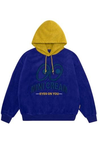 Mini cream blue Contrast logo hoodie 8CB2BAA2FEDD3CGS_1