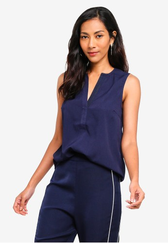 ZALORA BASICS navy Basic V-Neck Sleeveless Top 4304BAADAB1B36GS_1