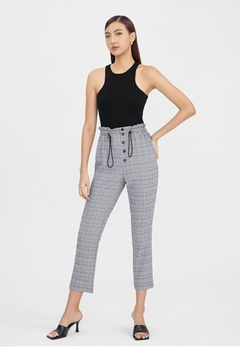 Pomelo black High Waisted Elastic Plaid Trousers - Black 91411AA0595D93GS_1