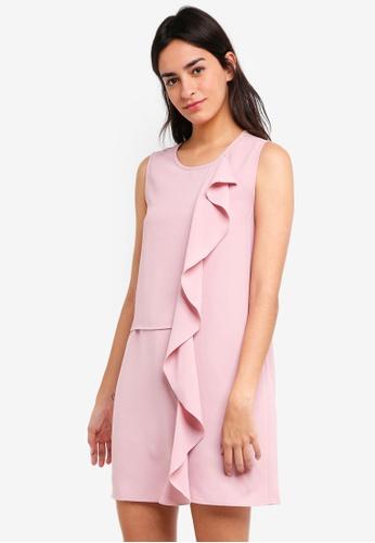 ZALORA pink Drape Front Dress 4AD41AA29D619EGS_1