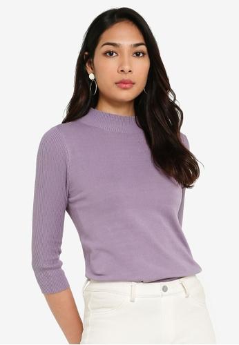 FORCAST purple Angeline Mock Neck Knit Top 1A5A3AA75BB05CGS_1