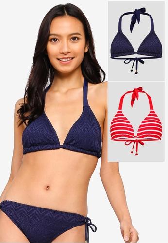 DORINA red and blue Valencia 2 Pack Triangle Bikini Top 4ABAFUS534717DGS_1