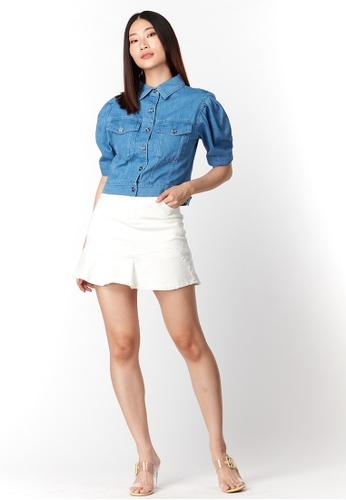 What To Wear Puffy Sleeve Denim Crop Top in Dark Blue BAF18AAE2E611DGS_1