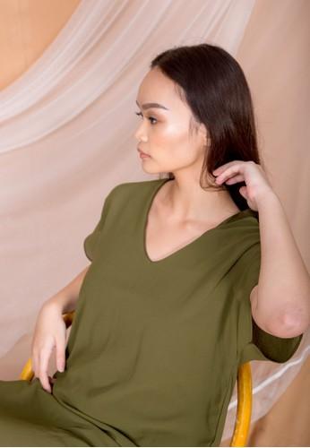 Simplify green Fiori Sheer Dress Olive BDDC3AACAFA72CGS_1