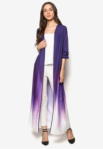 漸層色長半開襟外套, esprit品牌介绍服飾, 女性服飾