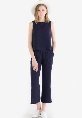 Kodz navy Two-Piece Tank Top and Trouser Set 8E014AA62D170EGS_1