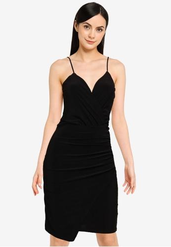 MISSGUIDED black Slinky Wrap Over Mini Dress 20D1CAA6B96F94GS_1